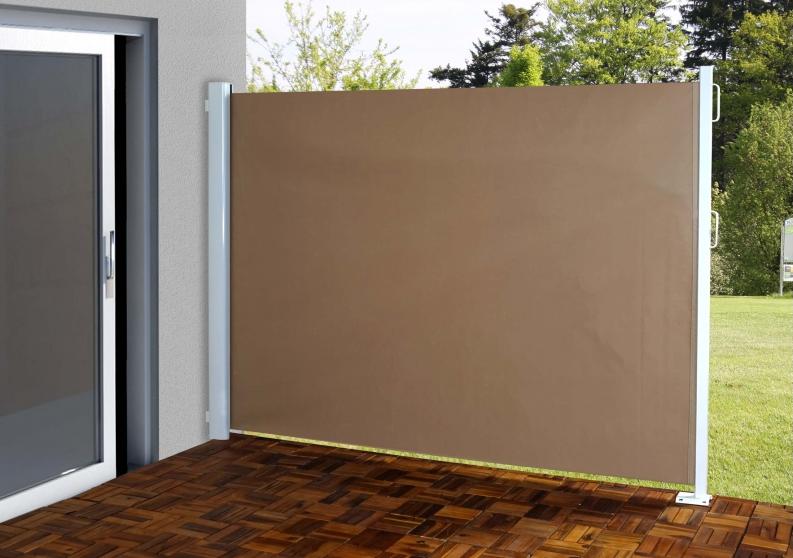 Udtrækssejl 300x160cm brunt   sidemarkise med lille fodbeslag ...