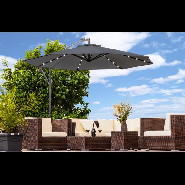 Hængeparasol Ø3 meter - antracit haveparasol med solceller og led-lys