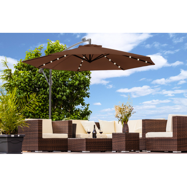 Hængeparasol Ø3 meter - brun haveparasol med solceller og led-lys