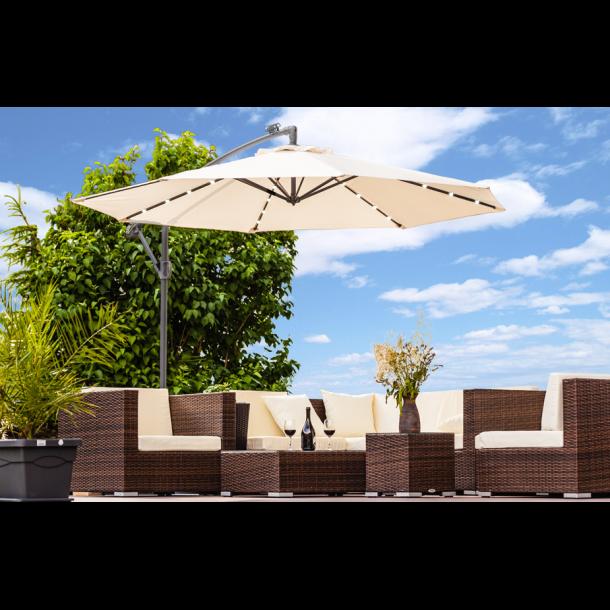 Hængeparasol Ø3 meter - creme/beige haveparasol med solceller og led-lys