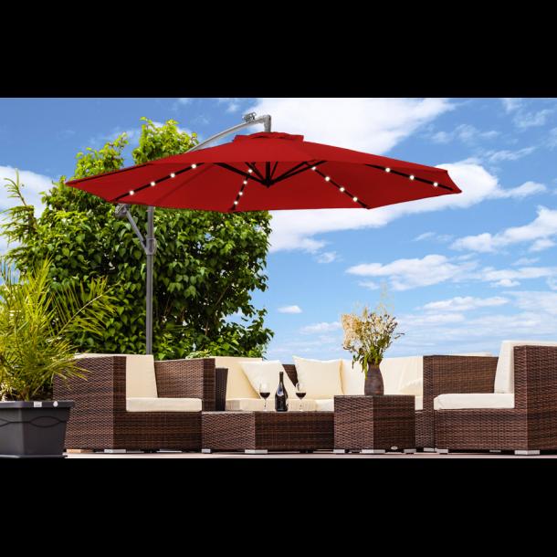Hængeparasol Ø3 meter - rød haveparasol med solceller og led-lys