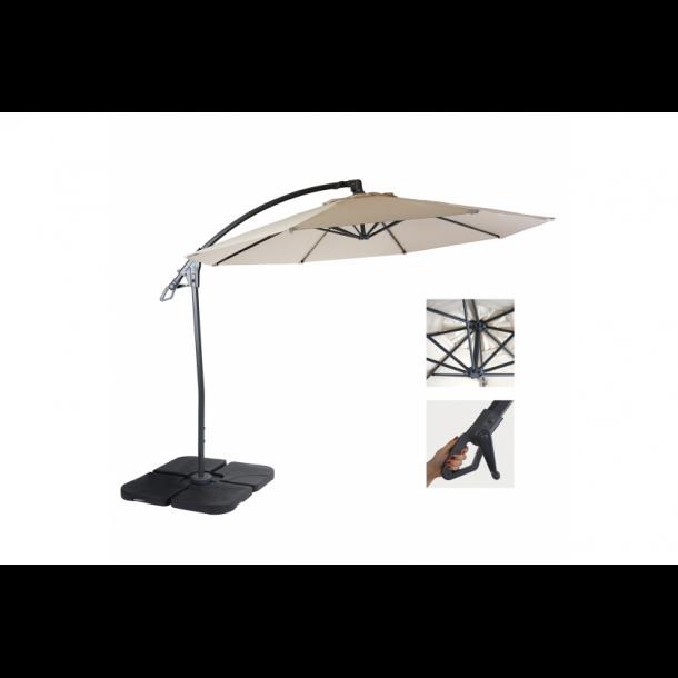 Hængeparasol 3 meter - 3x3 deluxe creme parasol med parasolfod