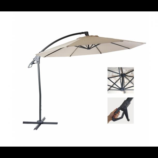 Hængeparasol 3 meter - 3x3 deluxe creme aluminium parasol