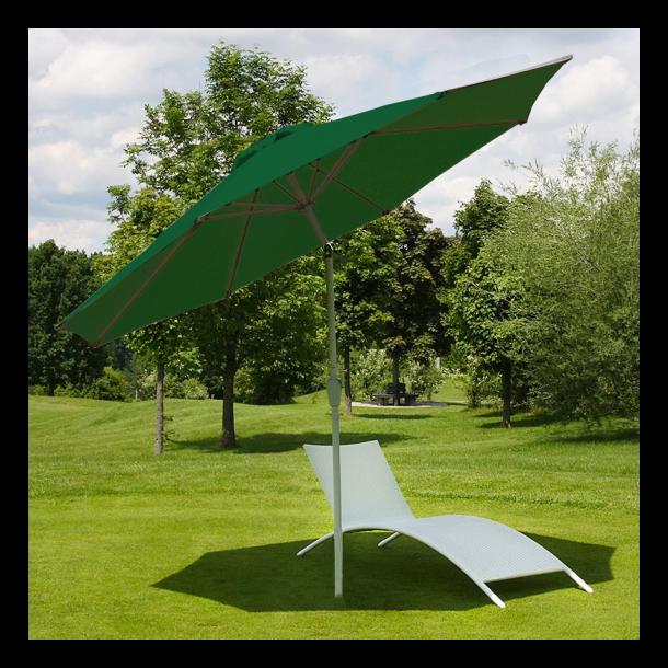 Haveparasol i aluminium med knæk/vip 300cm - grøn