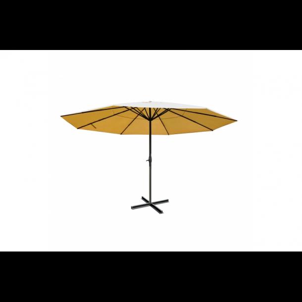 Markedsparasol Ø5 m - creme/beige haveparasol 5x5 med krank og fod