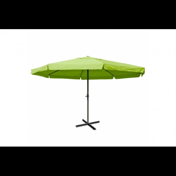 Markedsparasol Ø5 m - grøn haveparasol 5x5 med krank og fod