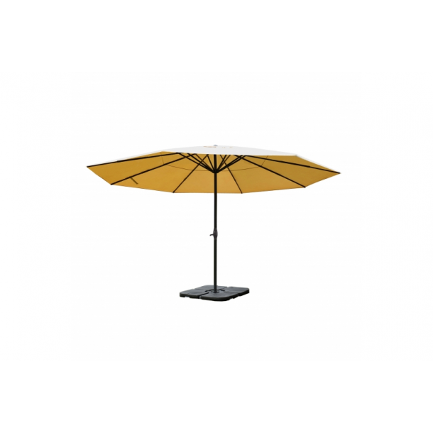 Markedsparasol Ø5 m - creme/beige haveparasol 5x5 med krank, fod og fliser