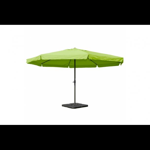 Markedsparasol Ø5 m - grøn haveparasol 5x5 med krank, fod og fliser