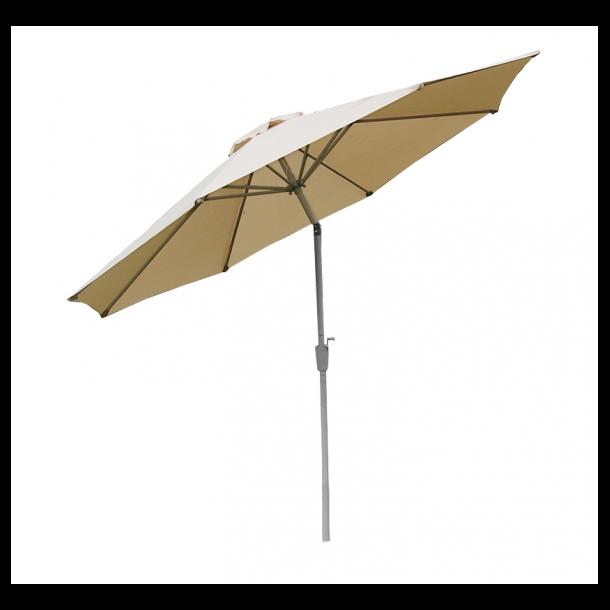 Haveparasol ø270 cm i aluminium med knæk/vip - creme parasol Ø2,7 meter