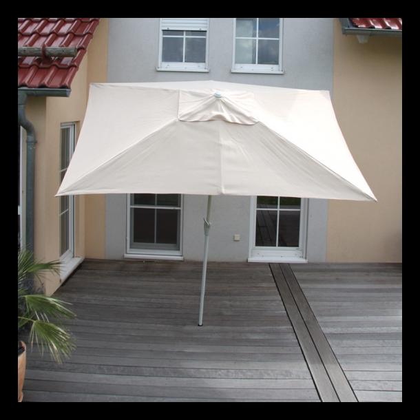 Parasol 2 x 3 meter i aluminium med knæk/vip - creme
