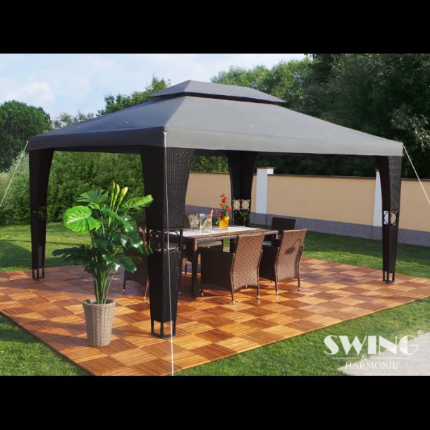 Polyrattan havepavillon 3x4m - sort polyrattan