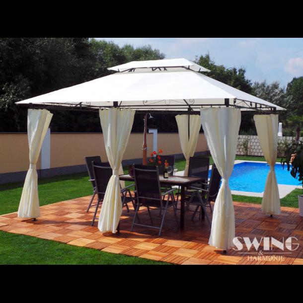 pavillon 3x4m creme beige stof havepavilloner og. Black Bedroom Furniture Sets. Home Design Ideas