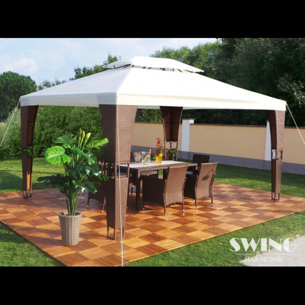 Polyrattan havepavillon 3x4m - brun polyrattan