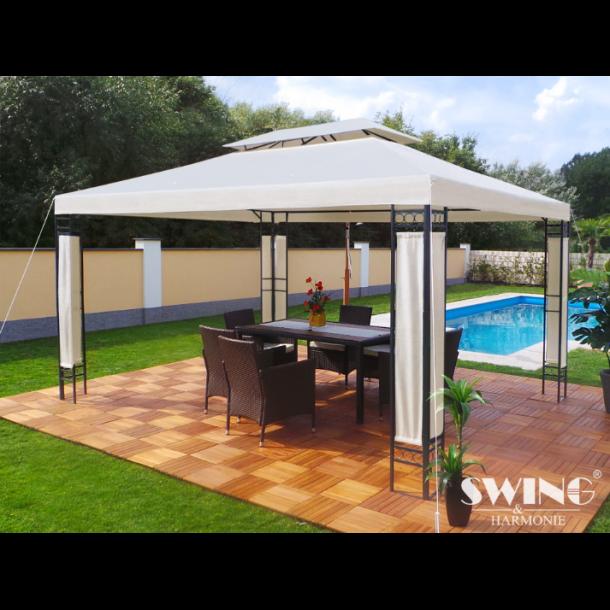 havepavillon 3x4m creme beige hvid havepavilloner og. Black Bedroom Furniture Sets. Home Design Ideas