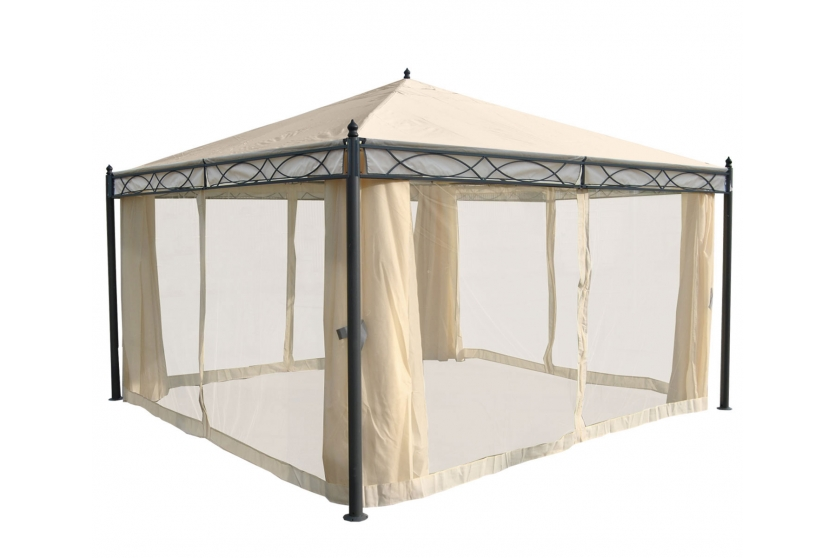 havepavillon 4x4m beige pavillon med myggenet og sidestof havepavilloner og partytelte. Black Bedroom Furniture Sets. Home Design Ideas