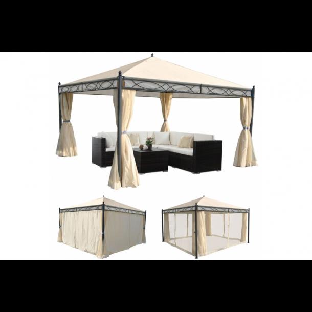 Havepavillon 4x4m - beige pavillon med myggenet og sidestof