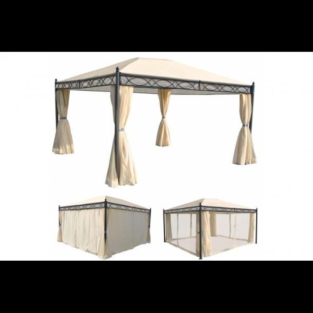 havepavillon 4x3m beige pavillon med myggenet og sidestof havepavilloner og partytelte. Black Bedroom Furniture Sets. Home Design Ideas