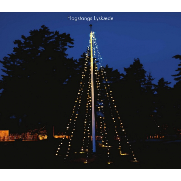 Julebelysning til flagstang 7+2 meter med 240 LED lys - Julelys og lyskæde til flagstang ...
