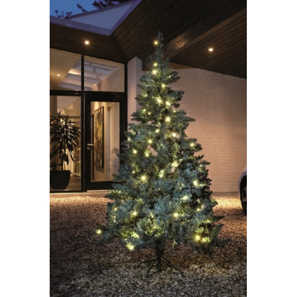 Kunstigt plastik juletræ på 210 cm med 180 varme hvide LED