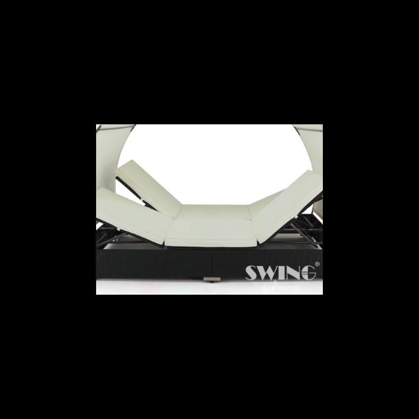 Polyrattan solseng med solsejl til 2 pers - sort rattan solvogn