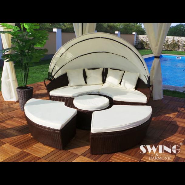 Polyrattan lounge sol ø 180cm brun   love boat   elskovsrede