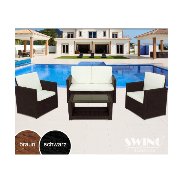 Polyrattan havemøbler - sort loungesæt for 4 personer