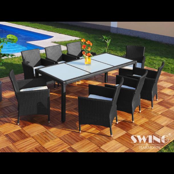 Polyrattan havemøbelsæt - sort loungesæt til 8 personer