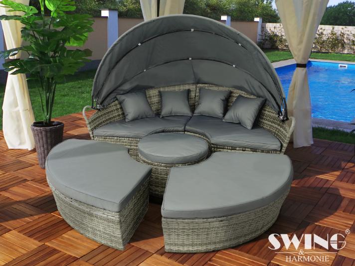 Polyrattan Lounge Sol-ø 210cm brun - love boat - elskovsrede