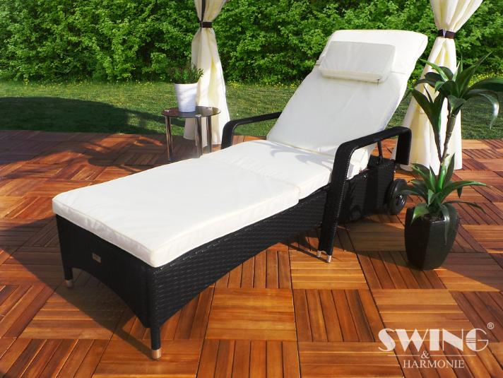 Polyrattan solvogn - sort solseng og liggestol - Havemøbler ...