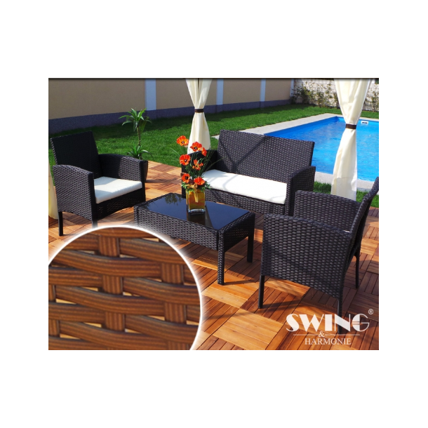 Polyrattan havemøbler, havemøbelsæt, loungesæt - brune