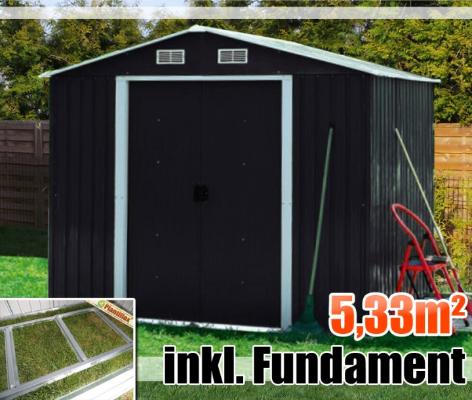 Redskabsskur i stål - redskabsrum, haveskur, redskabshus, brændeskur med fundament - 5,33m2 - sort