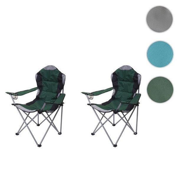 Campingstole - 2 grønne sammenklappelige foldbare polstret klapstole