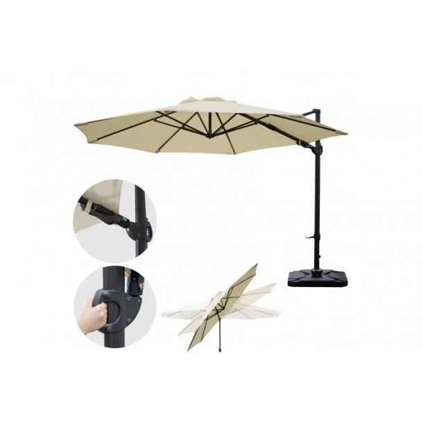 Hængeparasol Ø3,5 meter creme alu parasol med fliser/fod - 360° roterbar