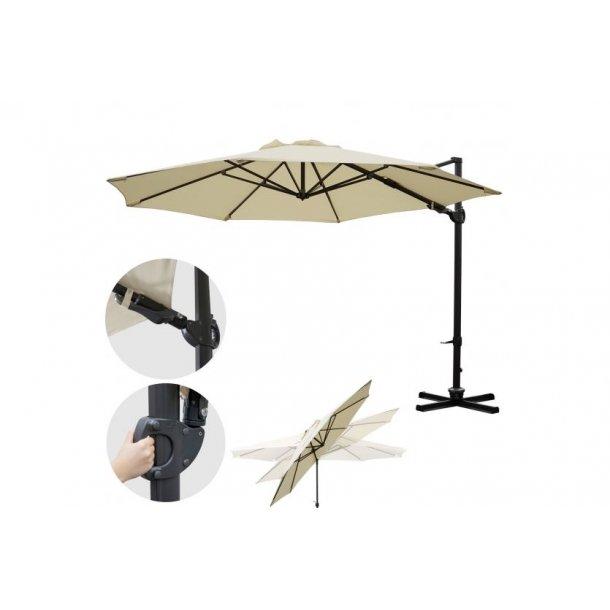 Hængeparasol Ø3,5 meter creme alu parasol med krydsfod - 360° roterbar