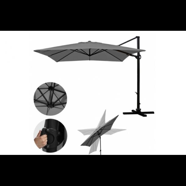 Hængeparasol 3x3M antracit alu haveparasol med fod - 360 grader roterbar