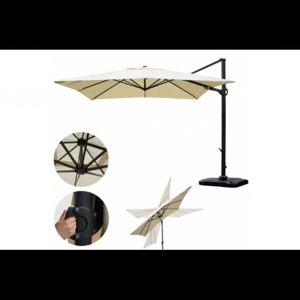 Hængeparasol 3x3M creme alu parasol med fliser/fod - 360 grader roterbar