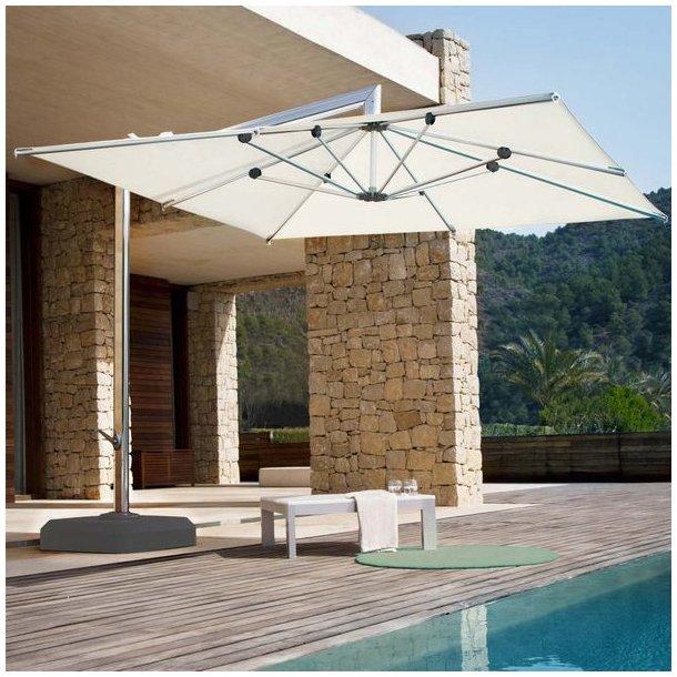 Hængeparasol 3x3M - luksus alu creme haveparasol med parasolfod