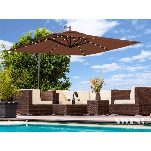 Parasol 3x3 meter med lys - brun firkantet hængeparasol på 300 x 300 cm