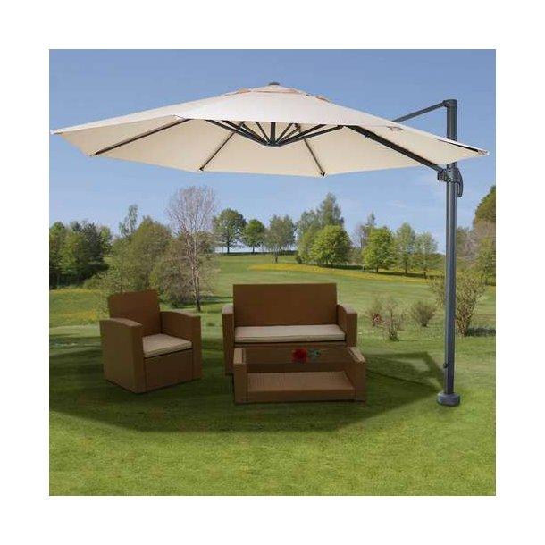 Hængeparasol ø300 cm - creme alu parasol med krydsfod - 360° roterbar