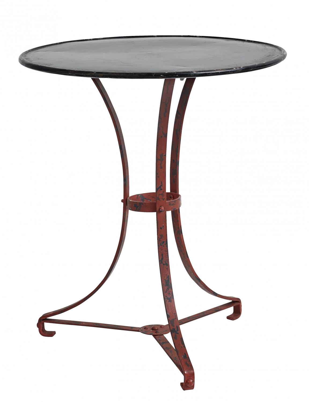 Havemøbler med rundt bord - sort/rødt havebord i jern hos Havehobby