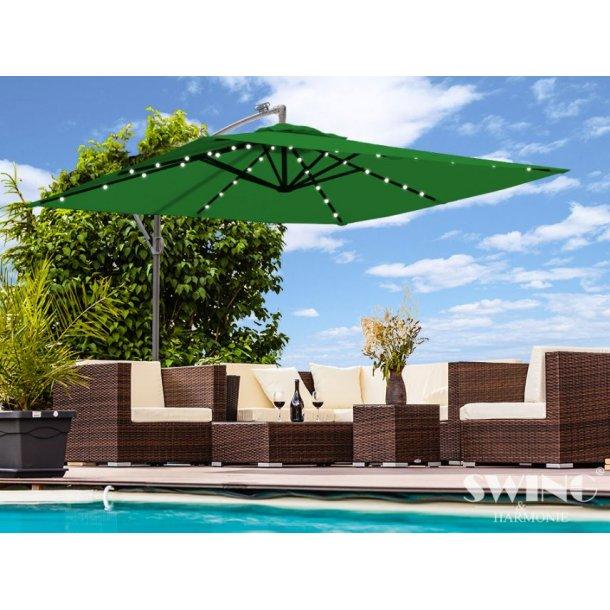 Parasol 3x3 meter med lys - grøn firkantet hængeparasol på 300 x 300 cm