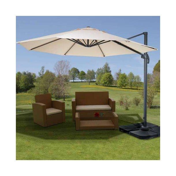 Hængeparasol ø300 cm - creme alu parasol med fod/fliser og 360° roterbar