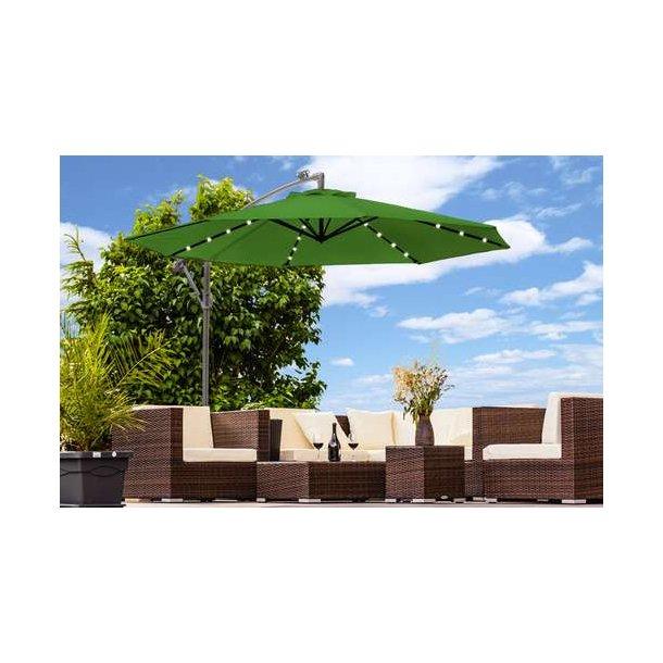Parasol Ø350 cm med led lys - grøn hængeparasol på Ø3,5 meter