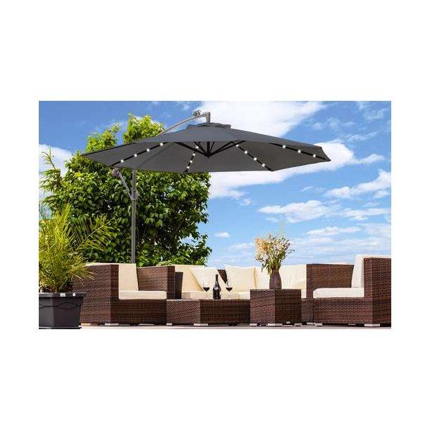 Parasol Ø350 cm med led lys - antracit hængeparasol på Ø3,5 meter