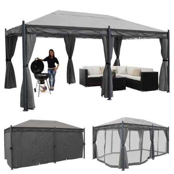 Pavillon 5x3m - grå havepavillon med sidegardiner og myggenet
