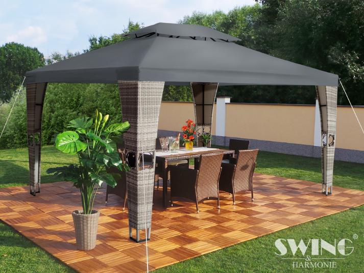 polyrattan havepavillon 3x4m gr polyrattan. Black Bedroom Furniture Sets. Home Design Ideas