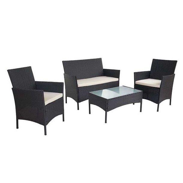 Havesofasæt - sort polyrattan havemøbelsæt med creme hynder