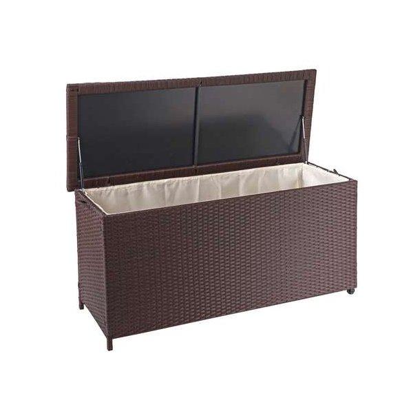 Polyrattan hyndeboks - brun hyndeboks på 320 liter - 63x135x52 Premium model