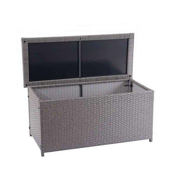 Polyrattan hyndeboks - grå hyndeboks på 320 liter - 63x135x52 Basis model