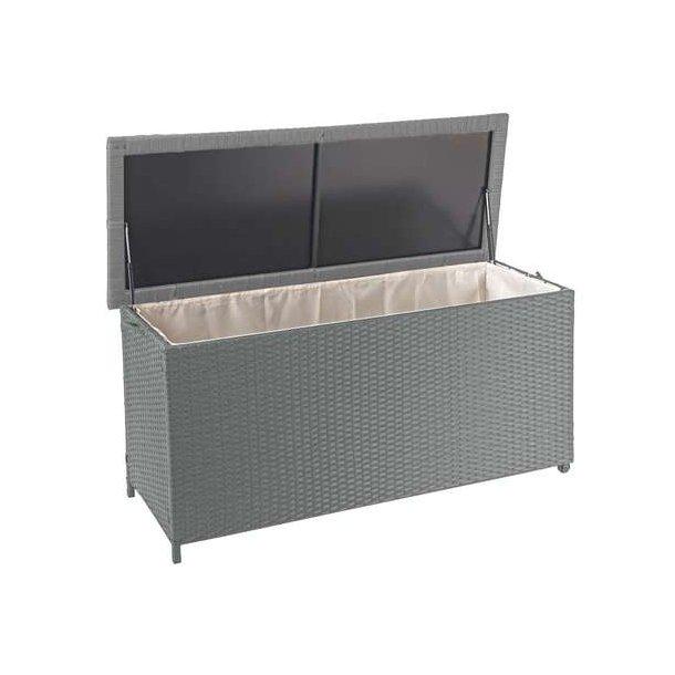 Polyrattan hyndeboks - grå hyndeboks på 320 liter - 63x135x52 Premium model